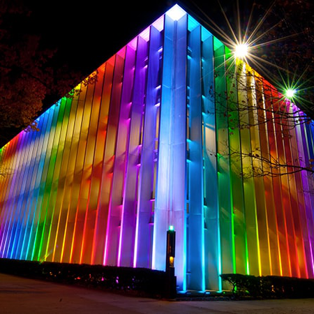 Hunt Library light show