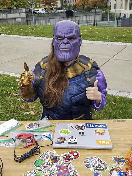 Photo of Erin Beasley dressed as Thanos.